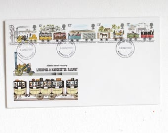 First Day Cover Liverpool and Manchester Railway Stamps 1980, First Day of Issue, Historical Railway Stamps 150 Years Commemoration