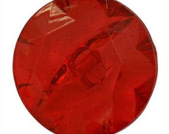 Transparent red acrylic - set of 1 button