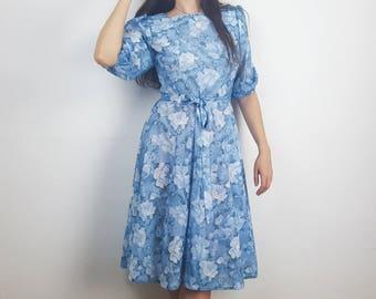 Blue floral dress, sheer dress, puff sleeve dress, knee length dress, belted dress, handmade vintage dress, hippie style dresses L