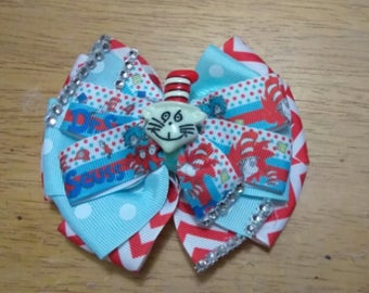 Cat in the hat bow ,Character bow, thing one ,