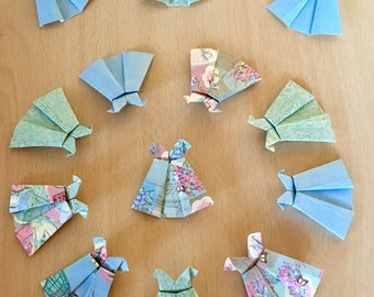 Origami Hand Folded Paper Mini Dresses - Vintage Distressed - Card Making - Bunting - Decoration - Origami