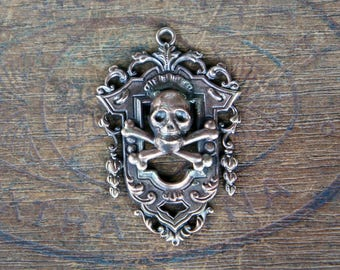 French Brass Stamping Ornate Baroque Frame with Skull and Crossbones Pendant Handmade Supply