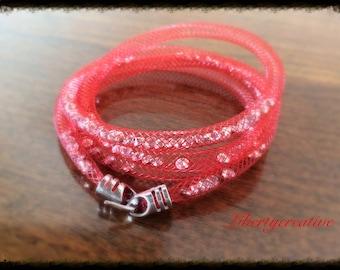 Red tubular Mesh Bracelet, topped with Rhinestones