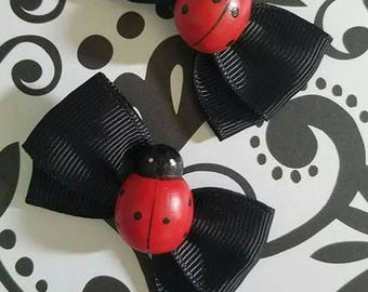 Two Super Cute Lady Bug Bows