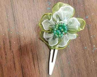 Green Shabby Flower Hair Clip