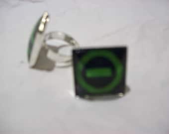 "Fully Adjustable Type O negative inspired ""logo"" Square Ring"