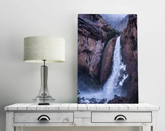 Yosemite Falls Wall Art Print -- Fine Art landscape photography, Forest, California, Winter, Waterfall, Home Decor, HeatherRobersonPhoto