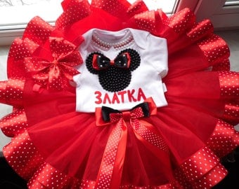 Minnie Mouse 1st Birthday Outfit / Minnie Mouse Party / Disney Tutu Set / Minnie Mouse outfit / Red Minnie Polka Dots first birthday outfit