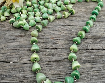 Vintage Green Oynx Long Beaded Necklace // Banded Agate Boho Necklace // Mexican Art