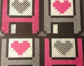 Pink/Grey Floppy disk Perler Bead Coaster