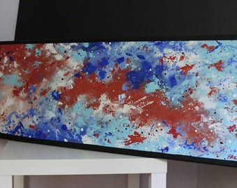 Lava and Ice 40x120 cm, original painting, acrylic painting, painting on canvas, palette knife, modern art, abstract art, bright colors
