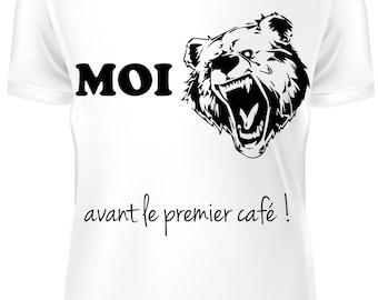 T-shirt blanc- Avant le café du matin - B-WD-007
