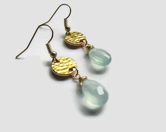 Seafoam Earrings, briolette earrings, aqua green earrings, Earrings, Gold Earrings, For her, Beaded Earrings, Dangle Earrings, Drop Earrings
