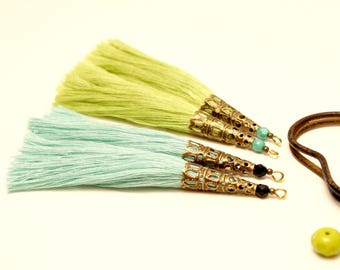 4 large tassels, Large Tassel, mint green, lime green, Pearl Turquoise