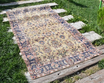 Vegetable Dyed Rare Turkish Rug Vintage Decorative Rug Free Shipping Rugs 3.7 x 6.7 feet Anatolian Floor Rug Bohemian Rug Area Rug DC551