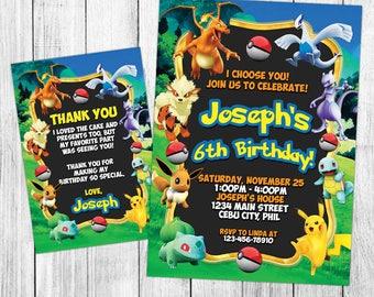 Pokemon Invitation, Pokemon Birthday, Pokemon Invite, Pokemon Party, Pokemon Printable, Pokemon Custom, Pokemon Card, Pokemon Evite