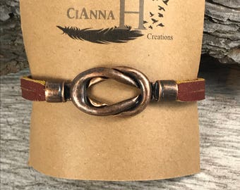 Boho jewelry Cayenne red genuine leather handmade love knot copper magnetic clasp bracelet nautical