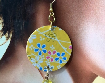 Japan, Washi paper earrings, faceted celestial agate, yellow crystal washer. Spring 2018 is coming!