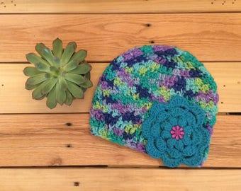 Blue Flower Baby Hat.