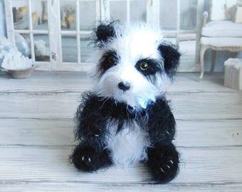 Panda stuffed toy Doll knitted panda Plush panda Hand knit toy Black&white panda Funny toy Soft doll Fuzzy toy panda Baby first toy