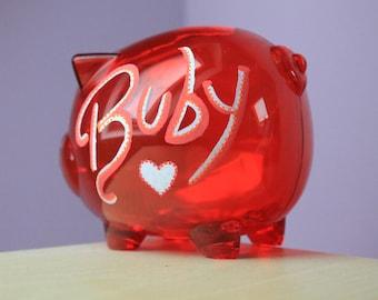 Piggy Bank - Personalised Transparent Red Hand Drawn Money Box to Save / Birthday / Wedding / Travel / Christening / Christmas / Kid's Gift
