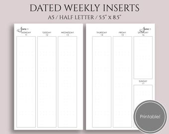 "Apr-June 2018 Dated Weekly Printable Planner Inserts, WO2P, Q2 Vertical Column Layout w/ Dot Grid ~ A5 / 5.5"" x 8.5"" Instant Download (WVC)"