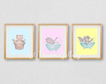 Bathroom Wall Art, Animal Bathroom Print, Childrens Bathroom Prints, PRINTABLE WALL ART, Baby Animals, Bathroom Decor, Bathroom Art, Bath
