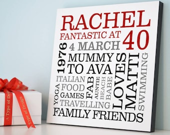 Personalised 40th Birthday Typographic Art