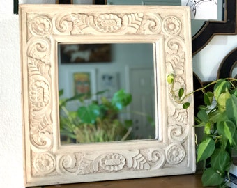 Vintage Woodcarved Mexican Mirror, Flower Design