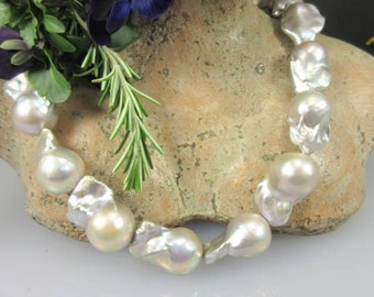 Huge Baroque freshwater pearl strand/Silver color