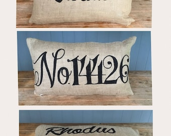 Lumbar Pillow, House Number Pillow, Last Name Pillow, Custom Pillow, Rustic Pillow, Burlap Pillow, Outdoor Pillow, Welcome Entry Pillow