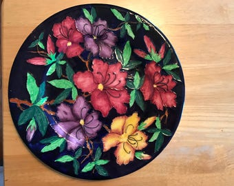 Antique Maling Pottery Art Deco Hand Painted Large Plate Magnolia Flower Lily