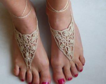 Barefoot sandals, skin jewels for feet, crocheted, beige cotton yarn;