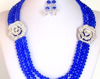 Handmade, Beaded, Jewelry, Blue Necklace, Jewelry Necklace, Beaded Necklace, Jewelry Set, Necklace, Earrings