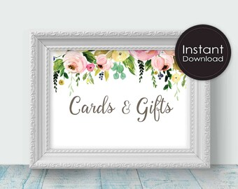 Cards and Gifts Sign, Printable Wedding Signs, White with Flowers, Printable Wedding Decor,Instant Download, Digital Printable File, Lizbeth