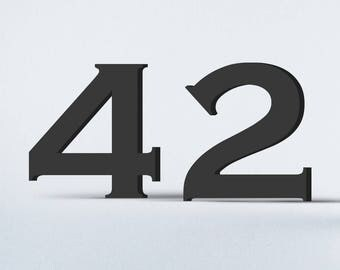 Flat Cut Acrylic House Numbers - Copperplate Regular