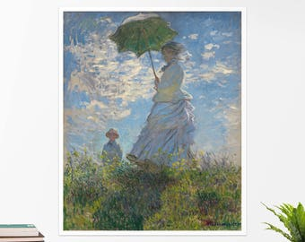"Claude Monet, ""Woman with a Parasol"". Art poster, art print, rolled canvas, art canvas, wall art, wall decor"