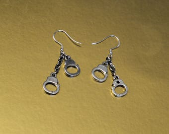 Handcuff Earrings on 925 Sterling Silver ear hooks.