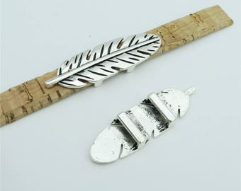 10units For 10mm flat leather slider Antique silver feather slider  jewelry finding supplies D-1-10-143