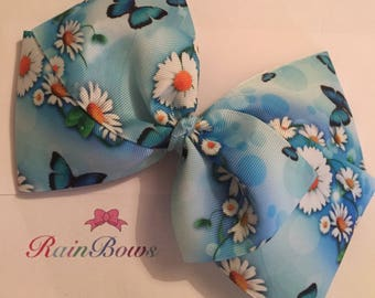 Large Blue Butterfly Daisy Boutique Bow
