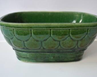 Planter CP USA Green Fishscale Design Oval 7 Inch Vintage