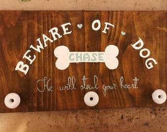 Customizable Beware of Dog Sign / Hooks