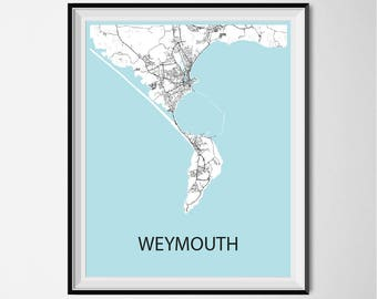 Weymouth Map Poster Print - Black and White