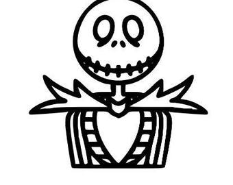 Jack Skellington Nightmare Before Christmas Halloween Vinyl Car Decal Bumper Window Sticker Any Color Multiple Sizes