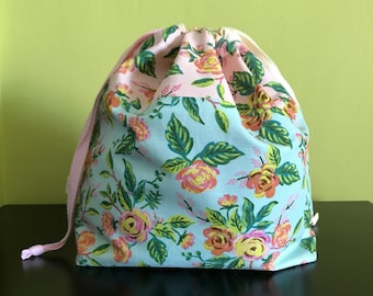 """Handmade drawstring bag / pouch for knitting crochet project 10.5"""" x 8"""" x 3.5"""" *Grand Roses Mix*"""