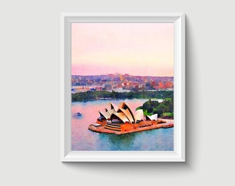 Opera House Sydney Australia Painting Postcard Poster Art Print Q134