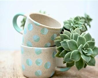 Pepper Cup in Minty Blue Spots
