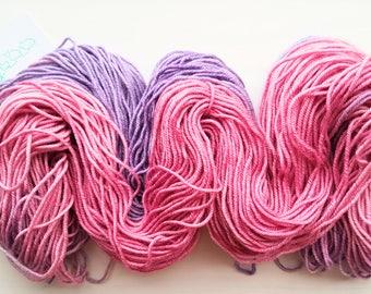 Compassion. Hand dyed SW BFL/silk/cashmere high twist DK yarn
