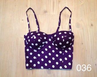 Purple Polka Dots Crop Top Bustier, Polka dots tops, polka dots bustier, motives bralette, polka dots dresses