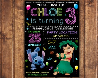 Lilo and Stitch invite,Lilo and Stitch Birthday invitation, Birthday Invite, Lilo and Stitch invitation,Lilo and Stitch